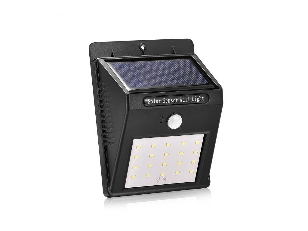 iQ-Tech Car solární venkovní světlo, 20 LED, pohybový sensor, bezdrátové, černé