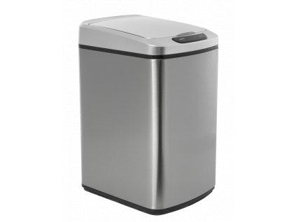 iq tech quadrat 15 l bezdotykovy odpadkovy kos hranaty stribrny nerez plast